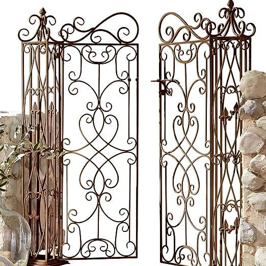 Puerta de jardín ricamente Decorada Hecha de Hierro, marrón Antiguo, 2 Puertas: Amazon.es: Jardín
