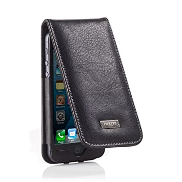 size 40 eb41d 1d27b Pipetto iPhone 5 / 5S / 5C and iPhone SE Flip Case - Rocker Black Leather  (Compatible with iPhone 5, iPhone 5S, iPhone 5C, iPhone SE)