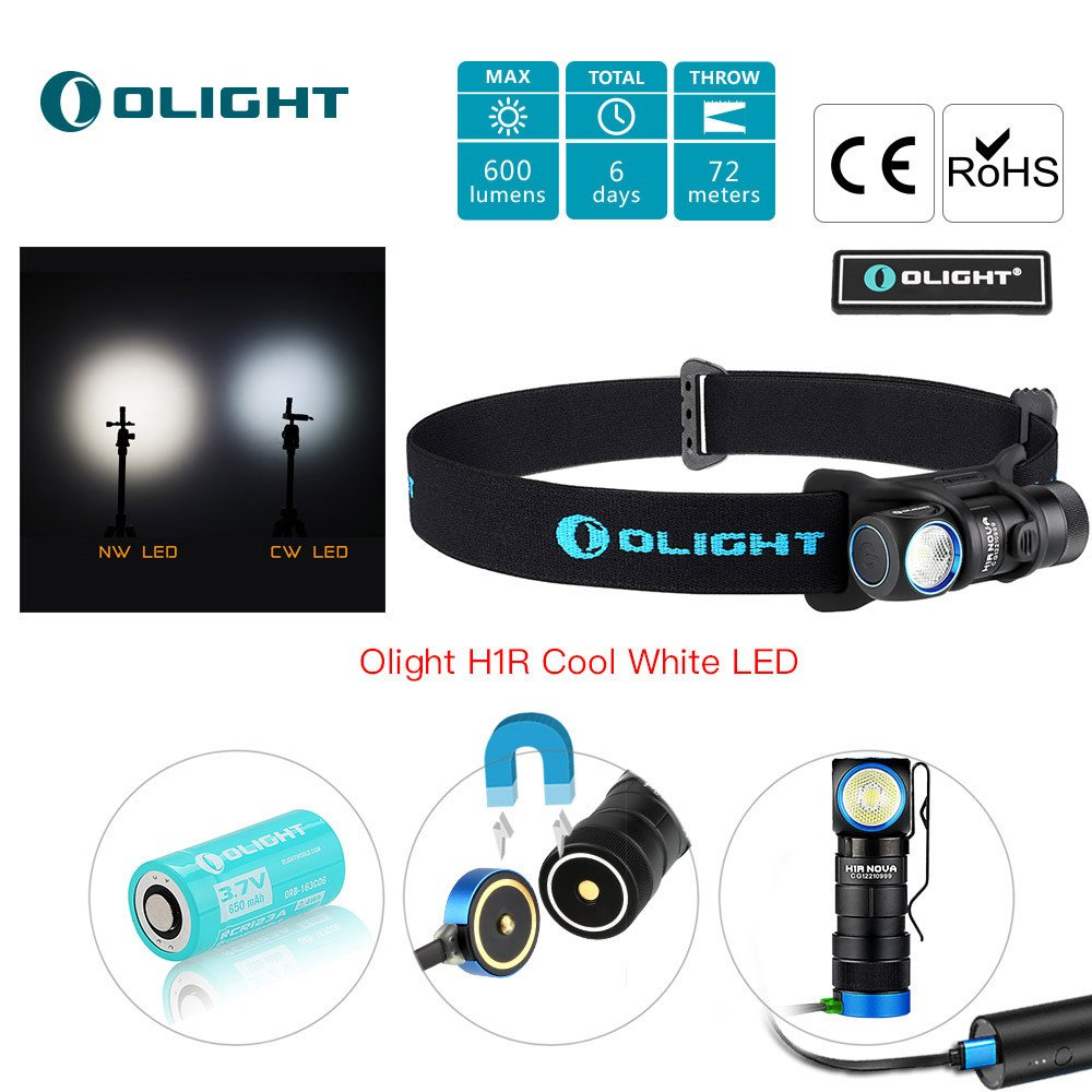 Bundle: olight h1r nova cree xm-l2 led 600 Lumen rechargeable headlamp flashlight, 5 brightness level with sos mode, edc running, camping lightweight with rcr123a battery olight patch (cw)