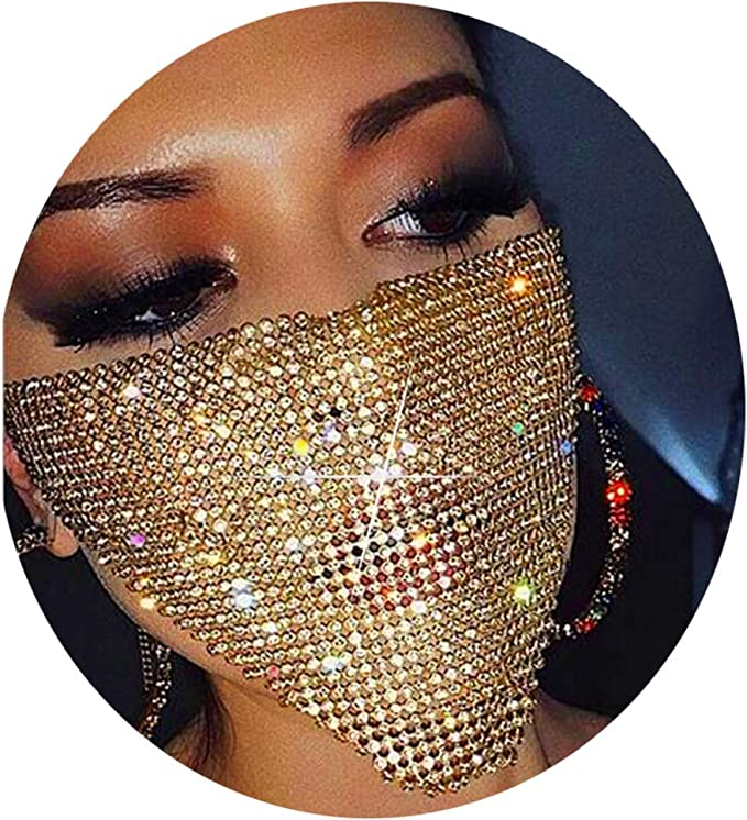 Details about  /Women Belly Dance Jewelry Half Face Cover Masquerade Glitter Sequins Coil Veil