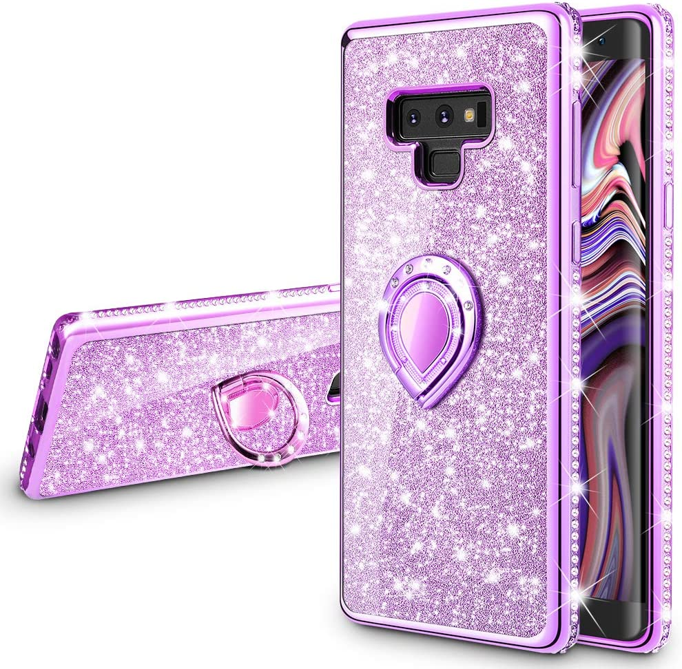 VEGO Galaxy Note 9 Case Glitter Bling Diamond Rhinestone Bumper Sparkly Protective Grip Case with Kickstand Ring Stand for Women Girls for Samsung Galaxy Note 9 (Purple)