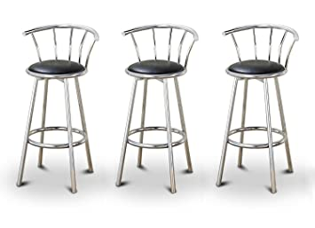 Amazing The Furniture Cove 3 24 Chrome Counter Height Bar Stools With Back Rests And A Black Vinyl Seat Ibusinesslaw Wood Chair Design Ideas Ibusinesslaworg