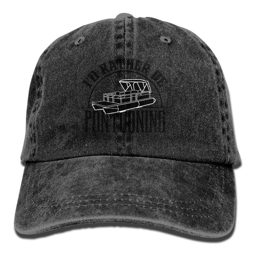Pontoon Boat Adjustable Baseball Caps Denim Hats Cowboy Sport Outdoor Dkvmkrvla Id Rather Be Pontooning