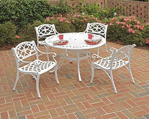 Biscayne White 5-Piece Outdoor Dining Set with Round Table and 4 Arm Chairs by Home Styles