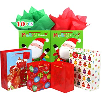 Christmas Bags In Bulk.Christmas Gift Bags Bulk Set Includes 2 Extra Large 4 Large 4 Medium With Tags And Handles Christmas Print