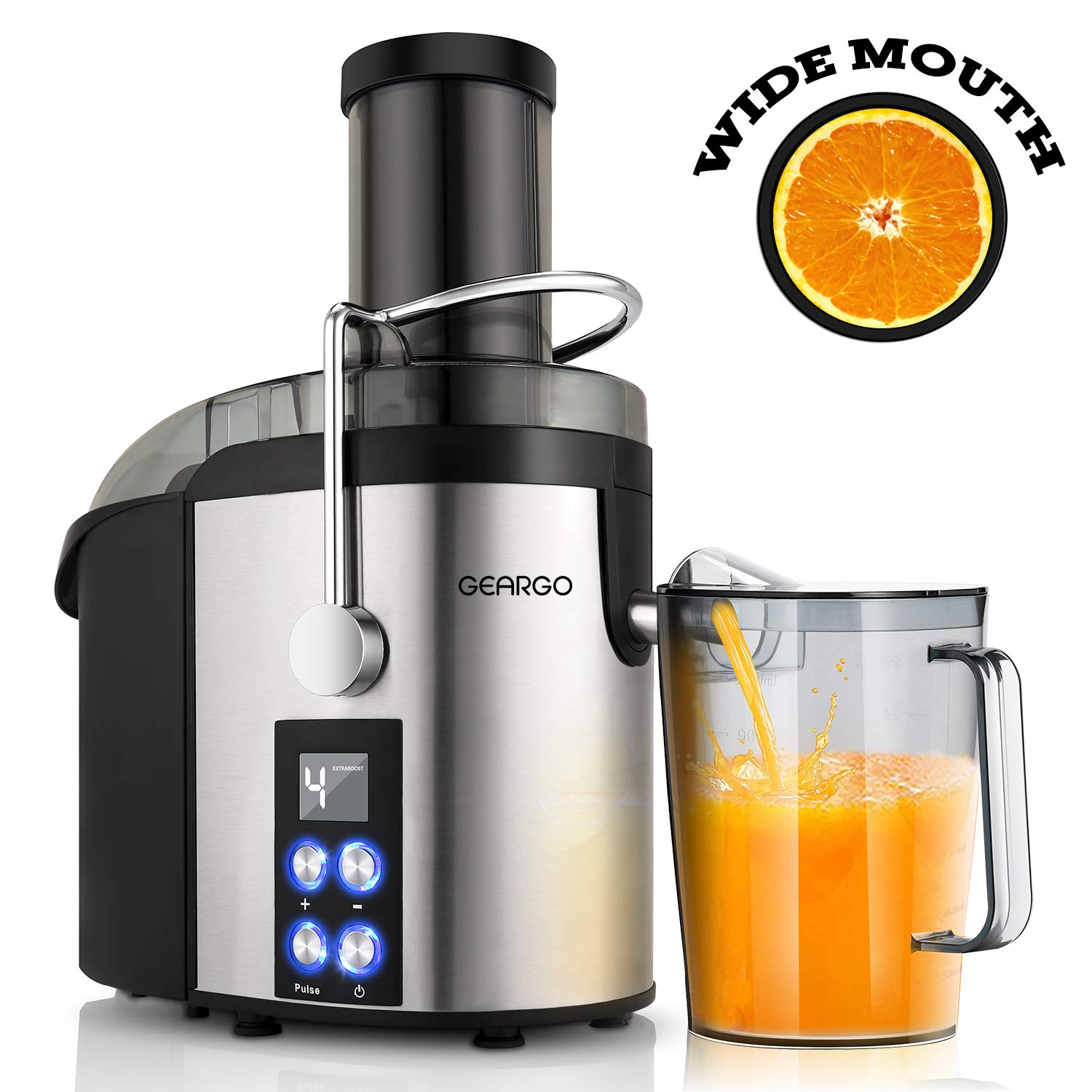 Newest LED Display and 4-Speed Centrifugal Juicer Juicer 800W Power Juicer Machine for Fruits and Vegetable GEARGO Juice Extractor with 75mm Wide Mouth