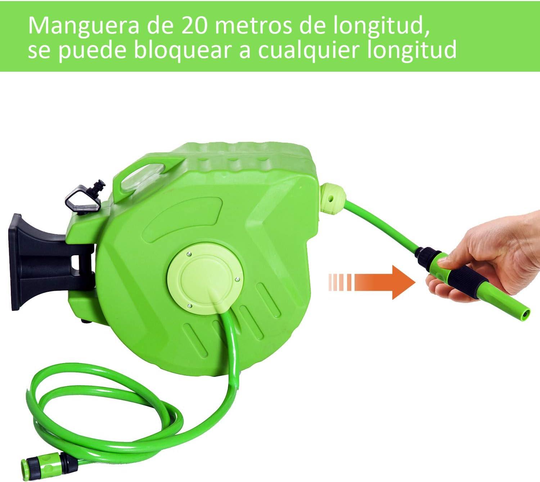 Outsunny Carrete para Manguera Soporte Mural Portamanguera 10m Roll-up Autom/ático con Pistola de Pulverizaci/ón Base de Pared Conector de Manguera para Jard/ín Terraza