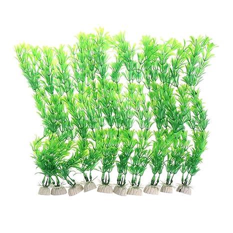 KunmniZ - Plantas acuáticas de plástico para Acuario, 10 Unidades
