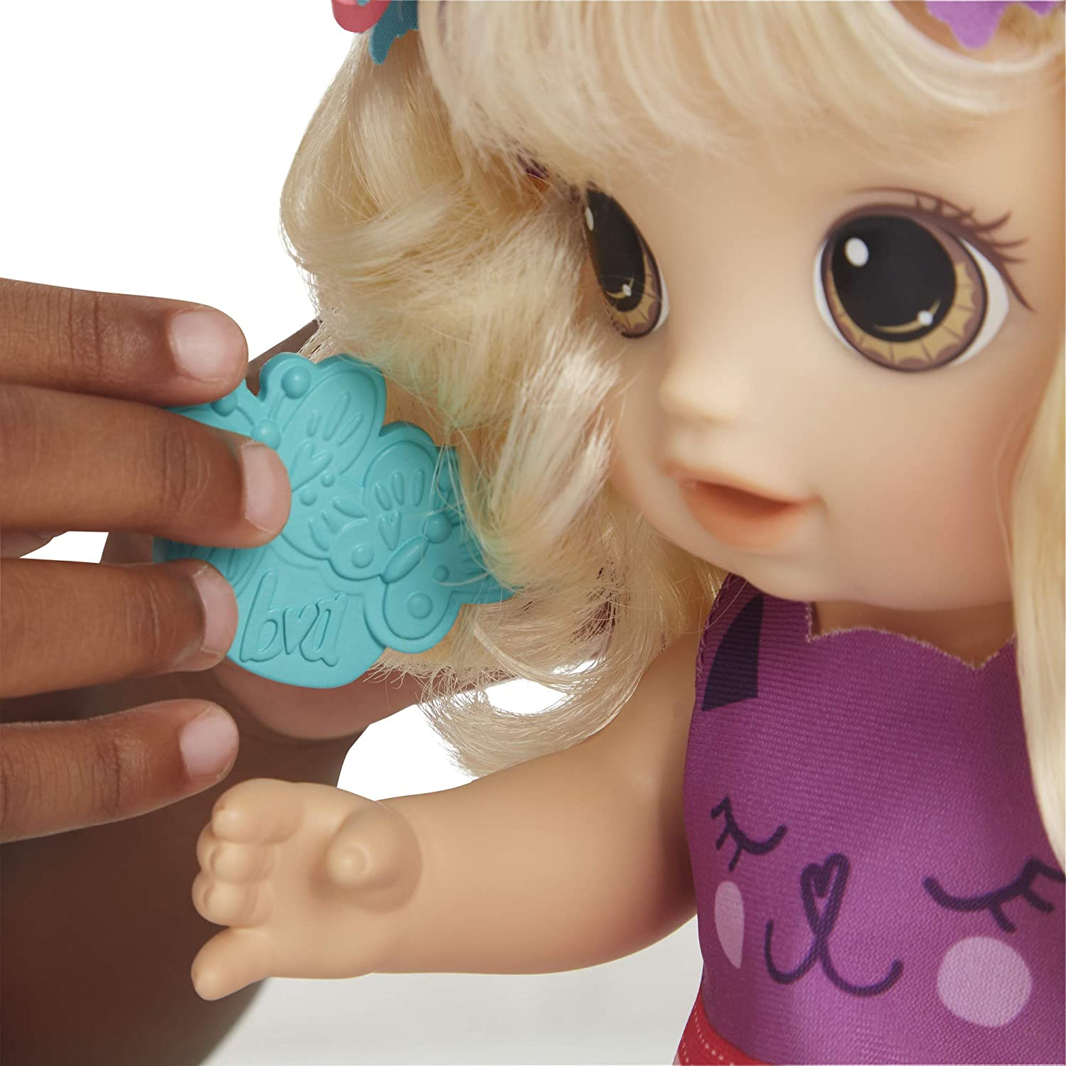 Amazon Com Baby Alive Snip An Style Baby Blonde Hair Talking Doll With Bangs That Grow Then Get Shorter Toy Doll For Kids Ages 3 Years Old And Up Toys Games