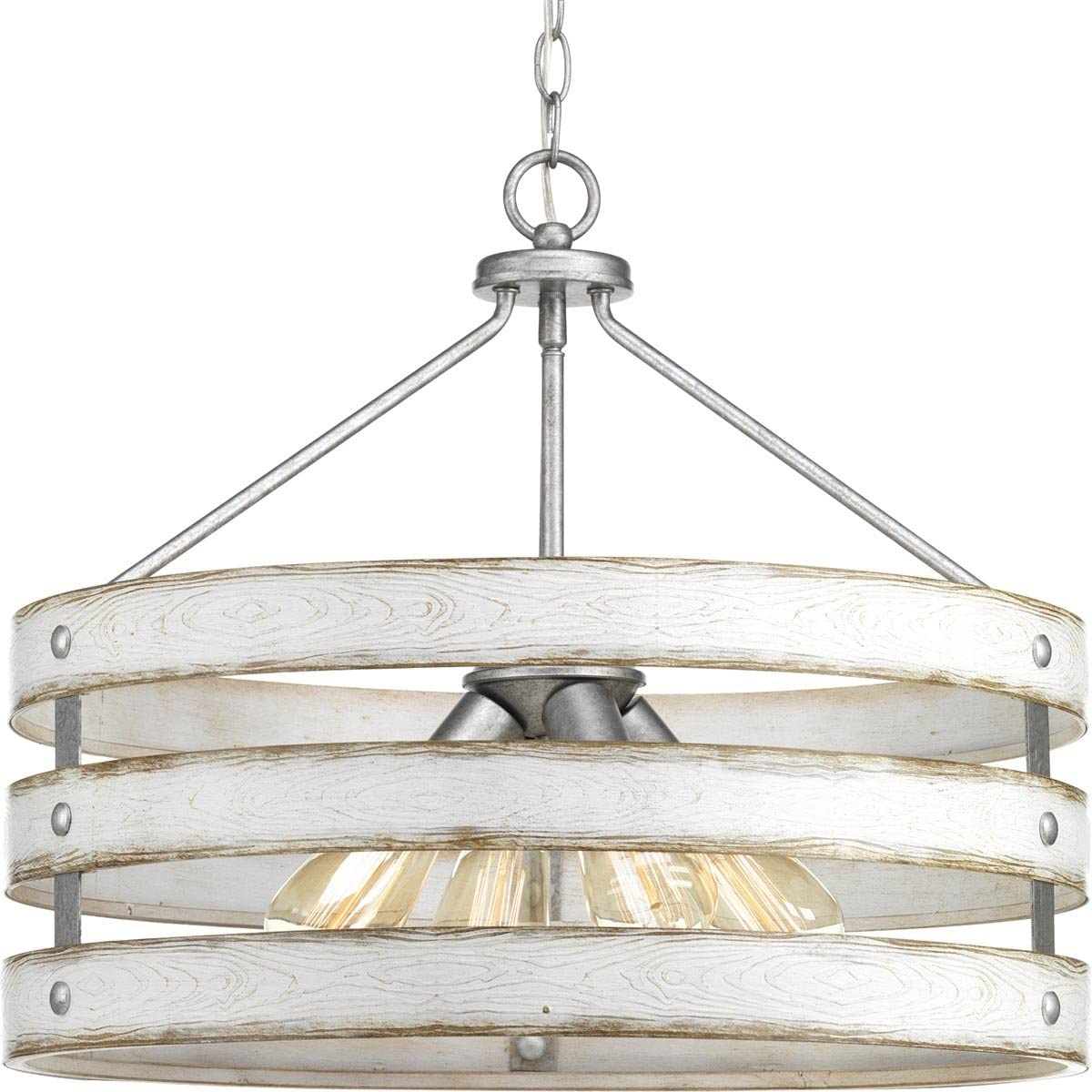 Progress Lighting P500023-141 Gulliver Four-Light Pendant, Galvanized Finish