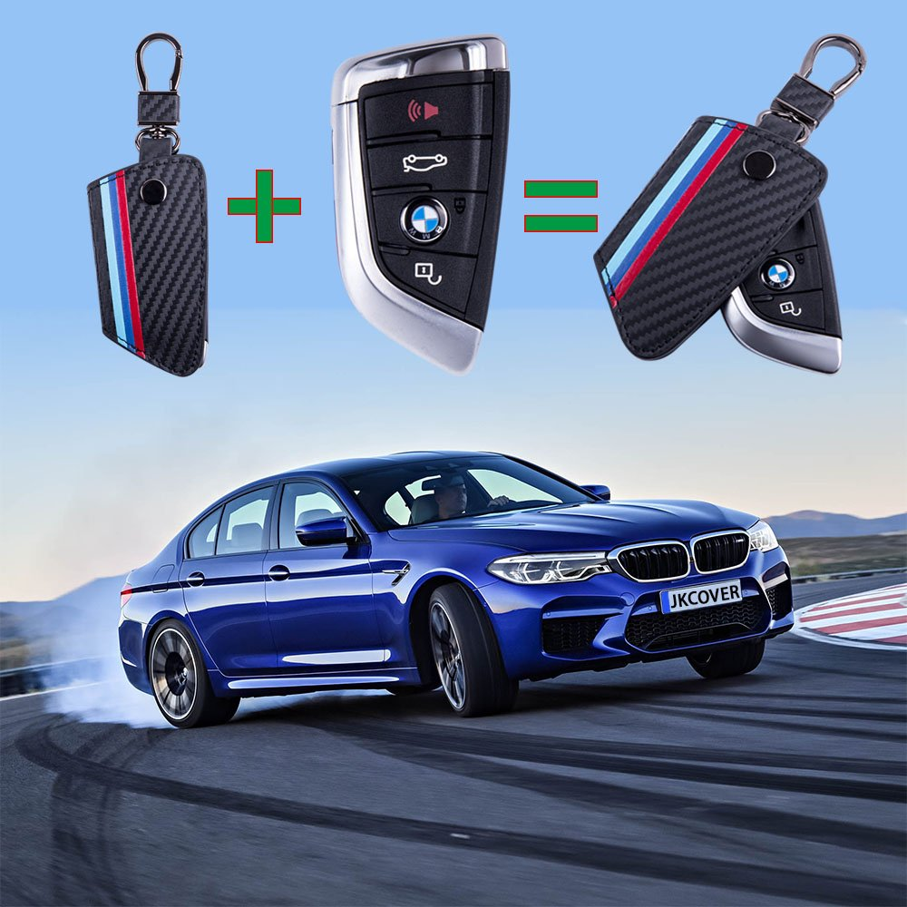 JKCOVER for BMW X1 X5 X6 5 Series 7 Series, M-Colored Stripe Black Carbon Fiber Pattern Leather Key Holder with Keychain