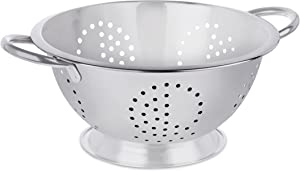 BirdRock Home Round Stainless Steel Colander - Self Draining Pasta Bowl - Kitchen Food Washing Strainer - Wide Grip Handles - Large