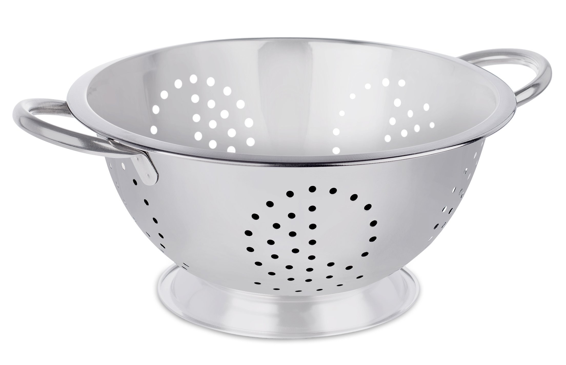 BirdRock Home Round Stainless Steel Colander | Self Draining Pasta Bowl | Kitchen Food Washing Strainer | Wide Grip Handles | Large