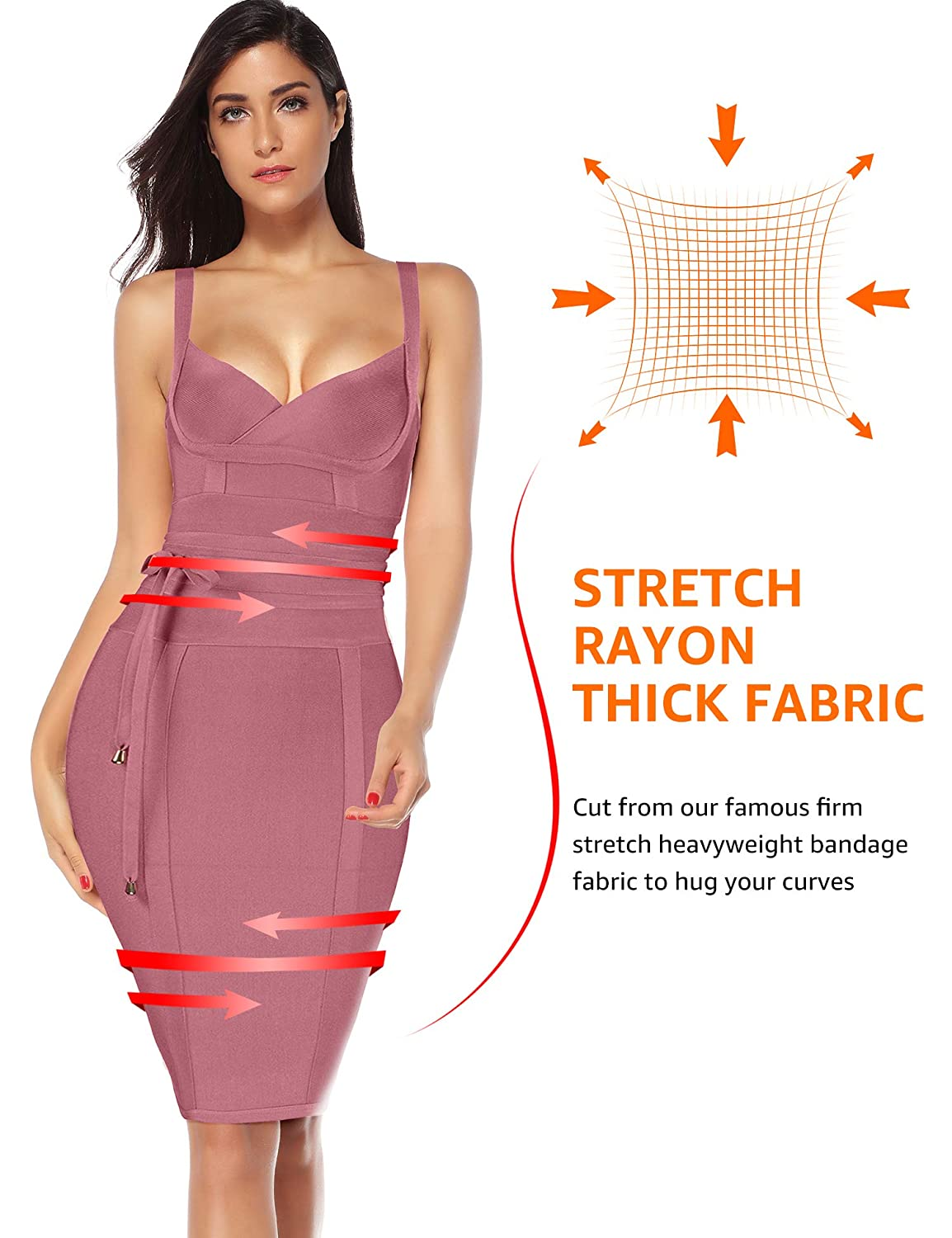 225ce55f5 Meilun Womens Rayon Belt Detail Bandage Bodycon Party Dress at Amazon Women s  Clothing store