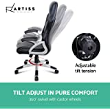 Artiss Gaming Chair Office Computer Racing PU Leather Adjustable Executive Chair with Armrest Highback Grey and Black