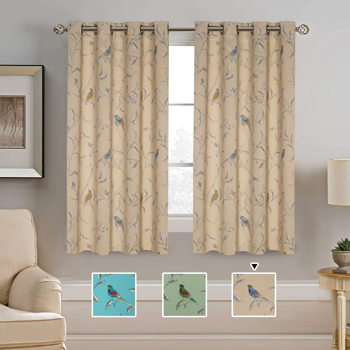 Thermal Insulated Room Darkening Curtains for Living Room Blackout Window Treatment Grommet Panels for Bedroom/Dining Room, Birds Pattern on Taupe Base - 2 Panels - 52 by 63 inch Each Panel