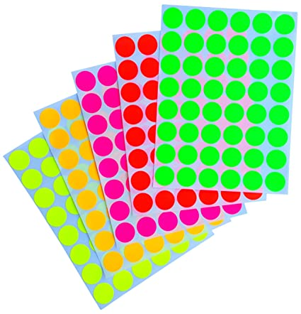 Neon color coding labels 3 4 0 69 inch 17 mm round