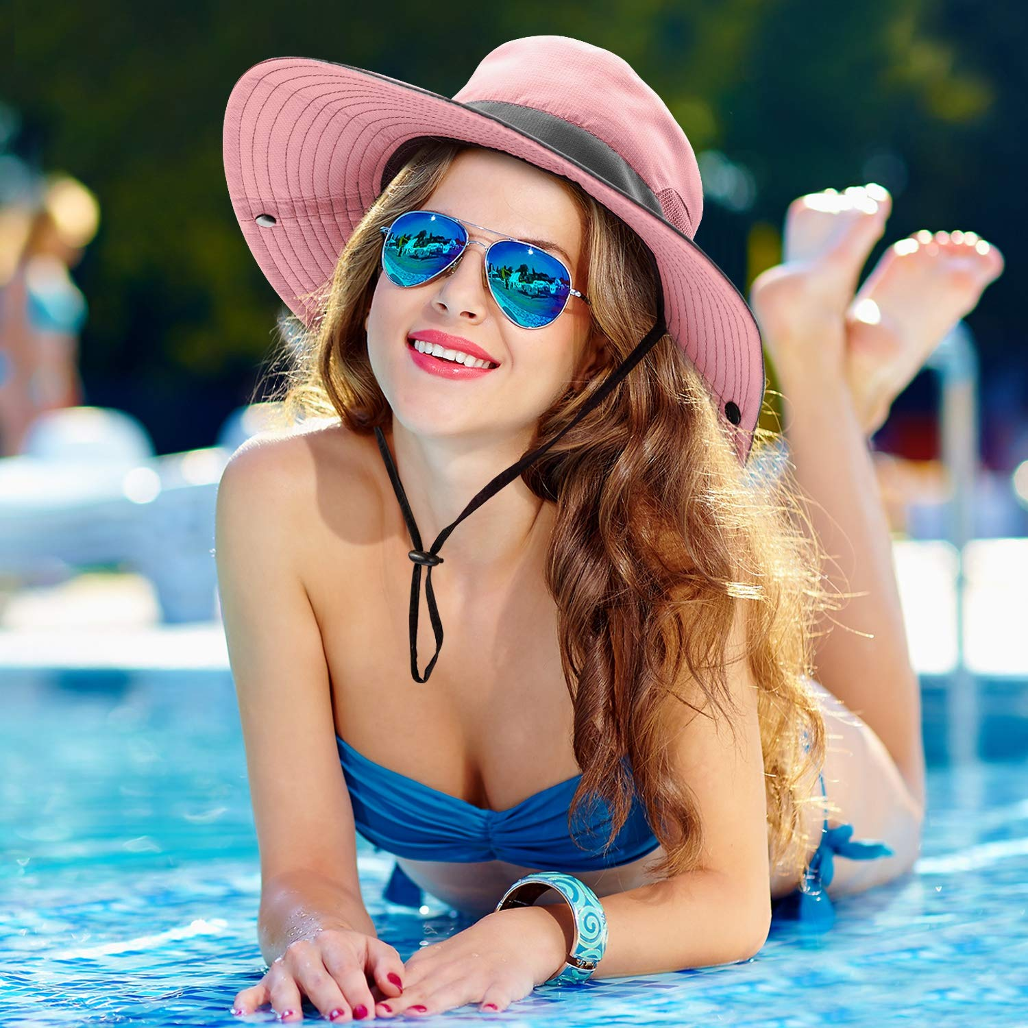 2 Pieces Womens Outdoor Sun Hat UV Protection Foldable Mesh Wide Brim Beach Fishing Cap