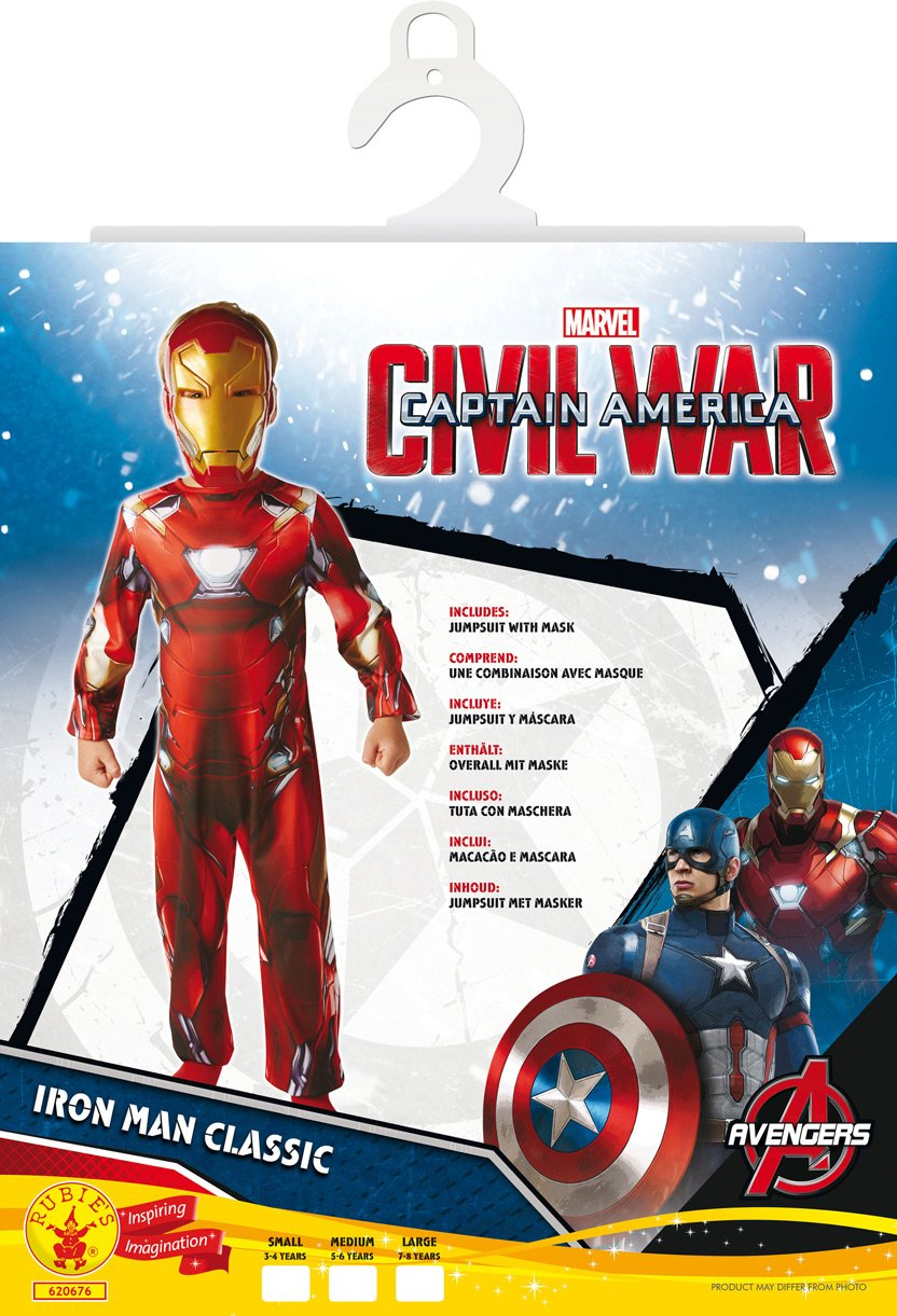 Amazon.com: Rubies Marvel Comics Avengers Iron Man Jumpsuit Costume With Mask Boys Kids: Toys & Games