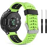 Garmin Forerunner 235 Watch Band, MoKo Soft Silicone Replacement Watch Band for Garmin Forerunner 235 / 220 / 230 / 620 / 630 / 735 Smart Watch - Green & Black