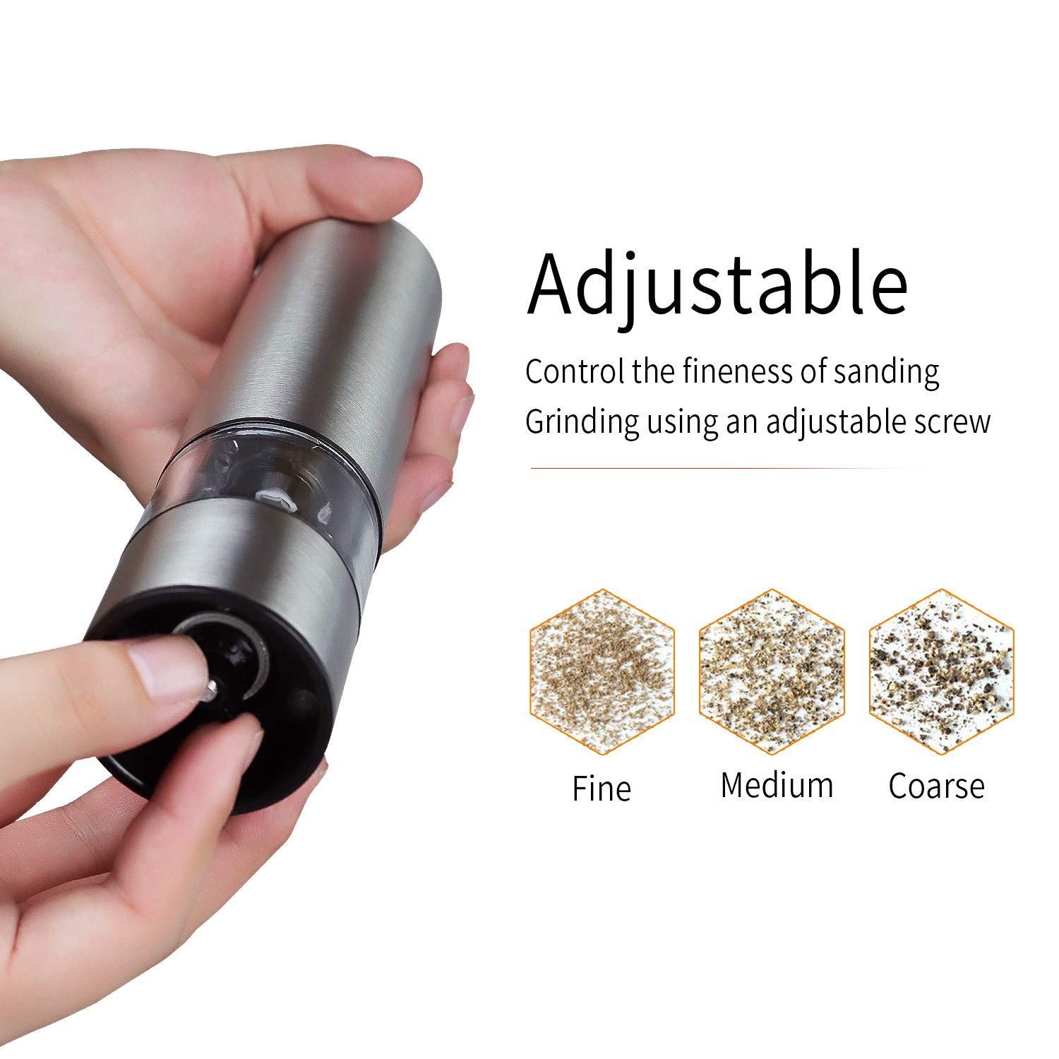 Electric Pepper Grinder Set,Original Electric Stainless Steel Salt and Pepper Grinder Set Tall Salt and Pepper Shakers with Adjustable Coarseness by Zoneyee