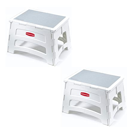 Amazing Rubbermaid Rm Pl1W Folding 1 Step Plastic Stool 300 Pound Capacity White Set Of 2 Customarchery Wood Chair Design Ideas Customarcherynet