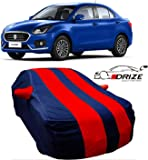 DRIZE Car Cover for Maruti Suzuki Swift Dzire with Triple Stitched Fully Elastic Ultra Surface Body Protection (Strips Red with Mirror Pockets)