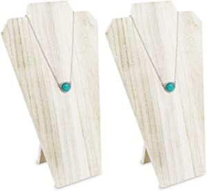 Ikee Design 2pcs Set Wooden Jewelry Display Bust with Easel (Wash White)