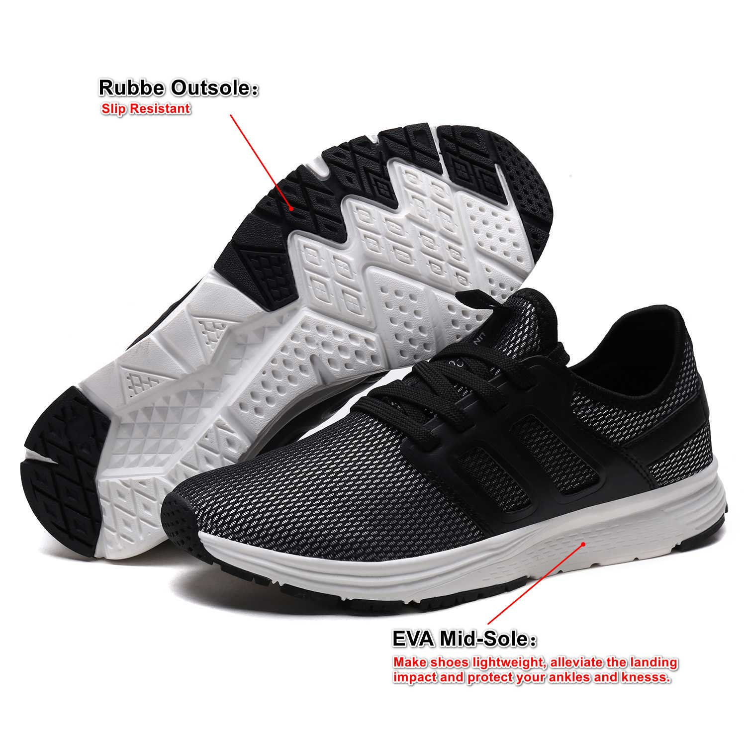 UNMK FUN Women\'s Fashion Lightweight Sneakers Breathable Mesh Soft Sole Casual Athletic Running Walking Shoes (8, Black)