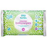 Mum & You Biodegradable and Compostable Plastic Free Baby Wet Wipes 336 Count (6 Packs of 56) - 98% Water, 0% Plastic…