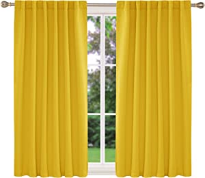 Deconovo Solid Thermal Insulated Blackout Curtains Back Tab and Rod Pocket Curtains Room Darkening Curtains for Bedroom 52x63 Inch Mellow Yellow 2 Panels