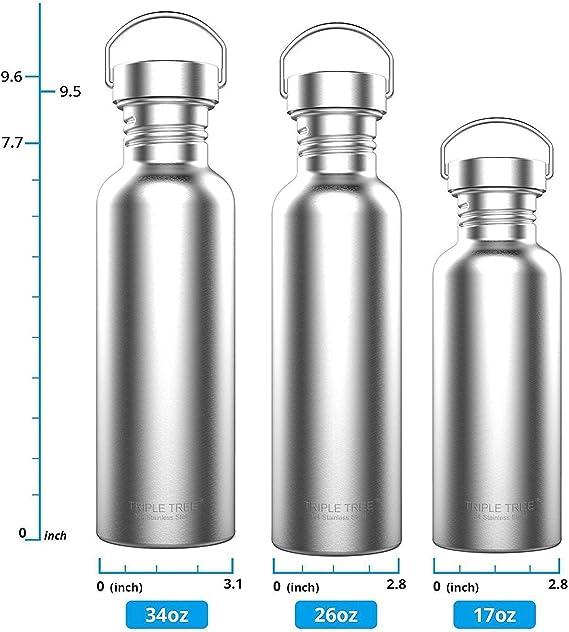 Auslaufsicher M TRIPLE TREE Edelstahl Trinkflasche 500ml 1L BPA Freie 700ml