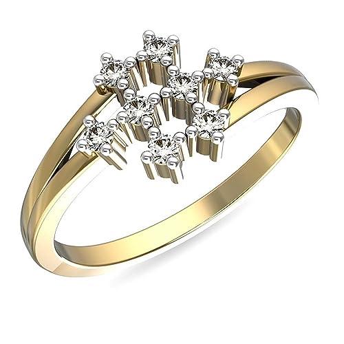 JewelsForum - Anillo de diamante estrellado para mujer, oro amarillo de 14 quilates, 0,09 CTHI, color de claridad I, regalo de aniversario certificado para ...