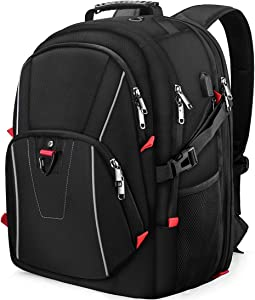 Laptop Backpack Extra Large Travel Backpacks for Men Women Waterproof TSA Friendly Business Traveling Computer Bag College School Bookbag with USB Charging Port Fit 17.3 Inch Laptop Notebook Black