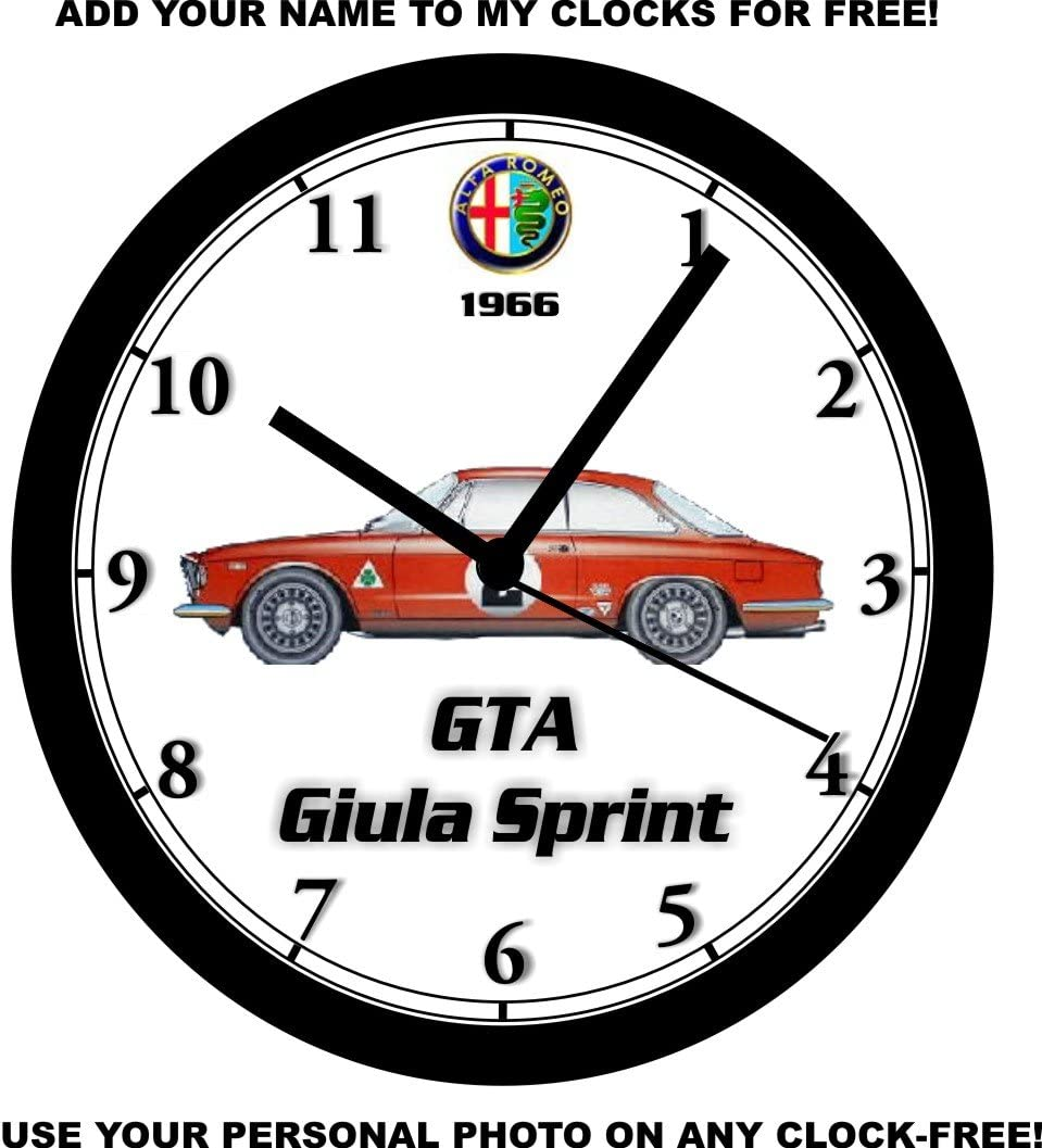 1966 ALFA ROMEO GTA GIULA SPRINT WALL CLOCK-Free USA Ship