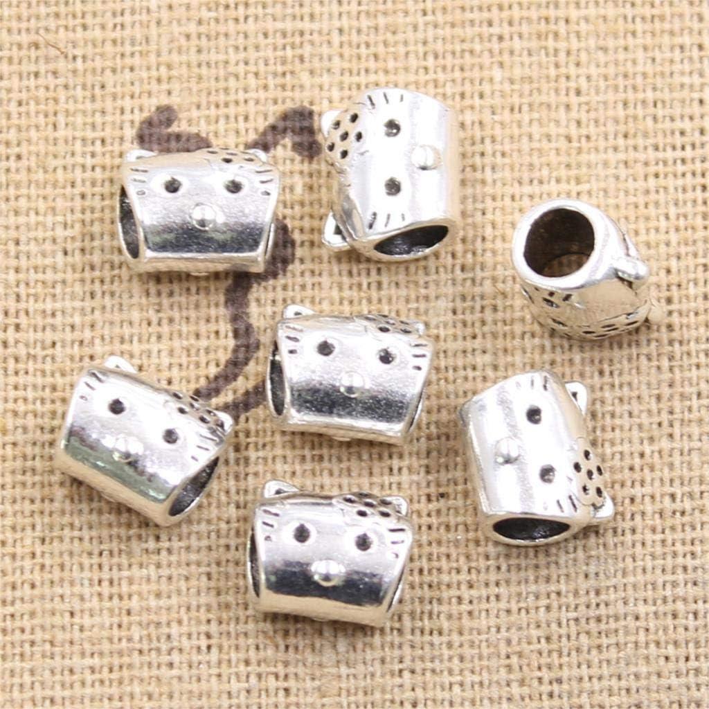 Calvas 20pcs 9611mm Lovely cat 4mm Big Hole Bead Charm fits Antique Silver Charm Bracelets Wholesale