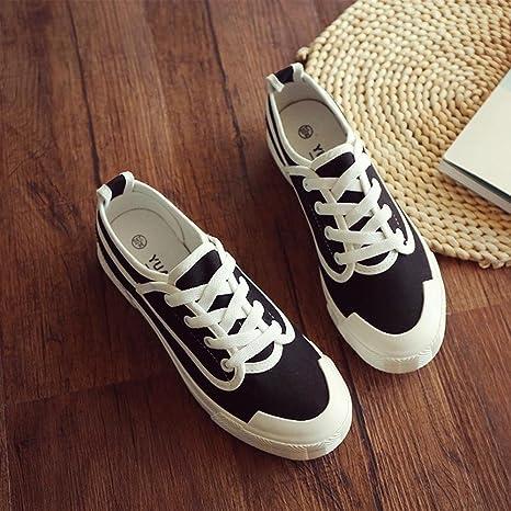 NSX delle donne cima piatta inferiore bassa casuale lace-up delle scarpe di tela skate Sneakers Flats , 40 , black