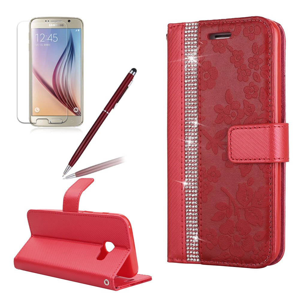 Flip Wallet Case for Samsung Galaxy A5 (2017),Girlyard Luxury Bling Crystal[Diamond Flower Pattern] Stitching Leather Stand Function Flip Kickstand Magnetic Book Wallet with Card Slot Holder Protective Cover Case for Samsung Galaxy A5 (2017)-Red