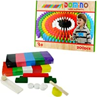 SN Toy Zone Wooden Dominos 200Pcs Blocks(3 Small Wooden Rolling Coins,Wooden Ball, Wooden Steps,Direction Pillar and Small Wooden Slope Pc