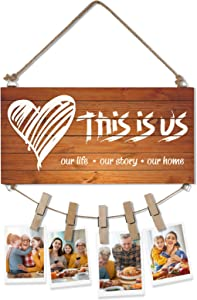 OYEFLY This is Us Rustic Home Sign,Wooden Hanging Family Photo Holder New Home Gifts Wall Decor (Brown)