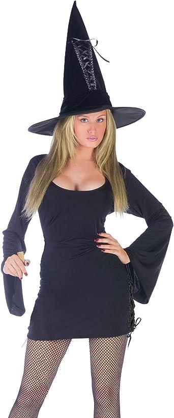 HALLOWEEN FANCY DRESS ~ BLACK MINI VELOUR WITCH HAT