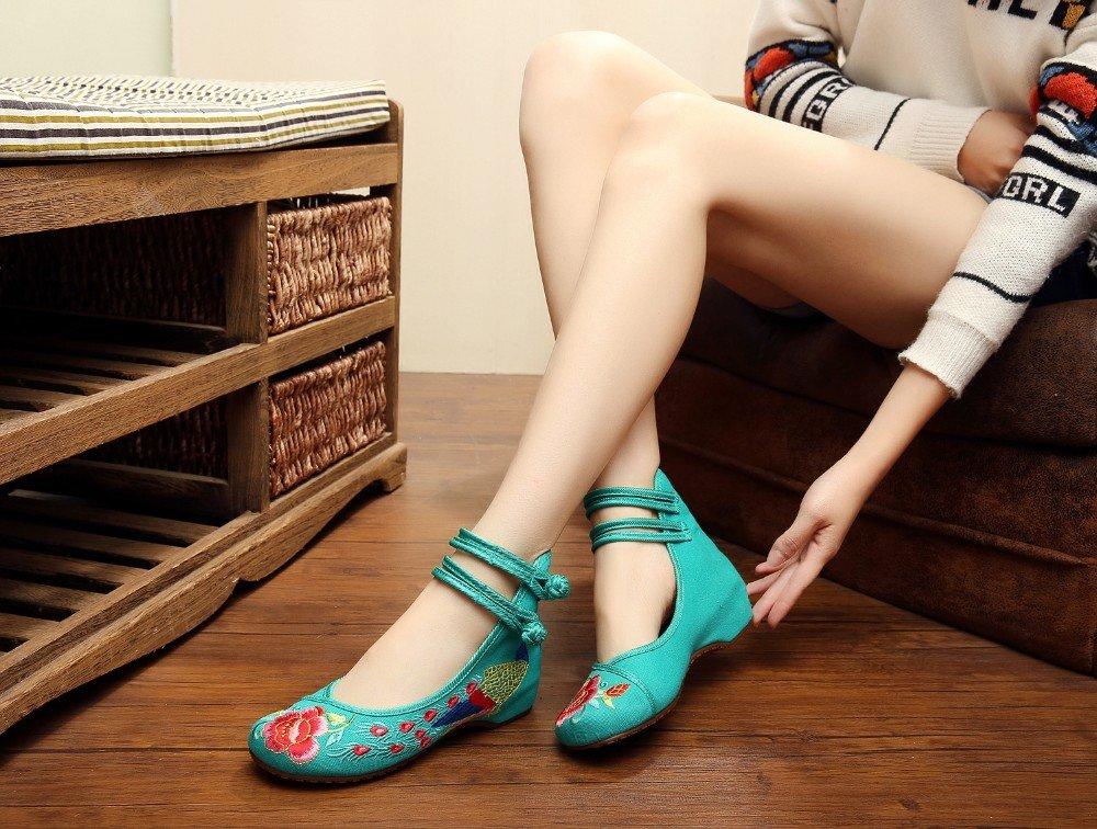 Wunes(TM) ひまわりの刺繍布靴のサイズ(34-41)ブルー+レッド中国風の国家通気性、快適柔らかい唯一のキャンバス[6赤] B078L18JZ2 6|赤 赤 6