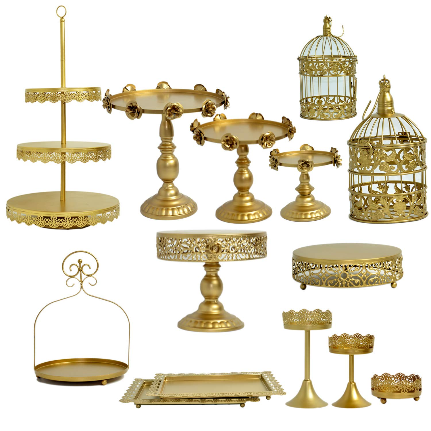 Proshopping 14 Set Antique Metal Cake Stand, Classical Round Cupcake Holder, Cake Plate Tray, Cookie Pedestal Display Tower, for Wedding Birthday Party, with Crystals Pendants and Beads, Gold