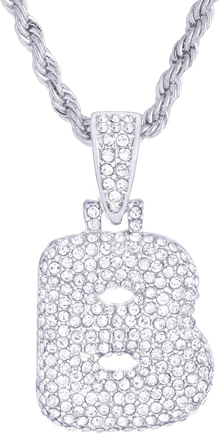 """N Initial Silver Plated Custom Bubble Letter Iced CZ Pendant 24/"""" Chain Necklace"""