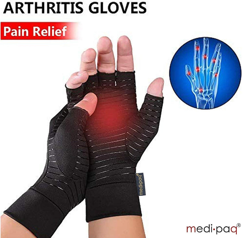 1 Paar Frauen Herren Unisex H/ände Arthritis Handschuhe Fingerlose halbe Finger Therapeutische Kompression Durchblutung Griff Handgelenk L/änge F/äustlinge Schmerzlinderung