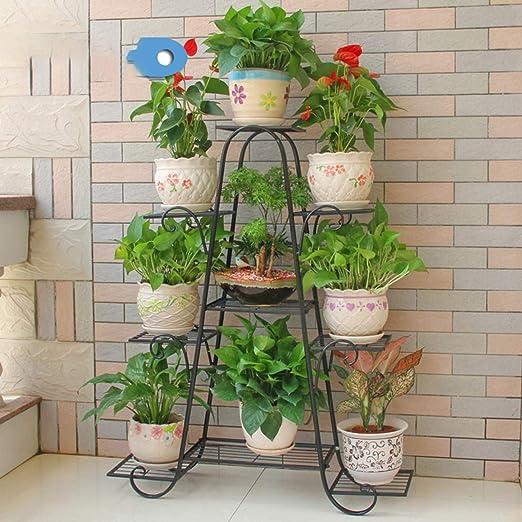 Haunen Soporte Macetas Plantas Metálico, Estantería Decorativas de Plantas Flores para Decoración Exterior Interior Jardín, 90 x 25 x 120cm: Amazon.es: Jardín