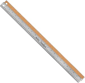 Breman Precision Stainless Steel 24 Inch Metal Rulers - Straight Edge Rulers with Inch and Metric Graduations for School Office Engineering Woodworking - Flexible with Non Slip Cork Base