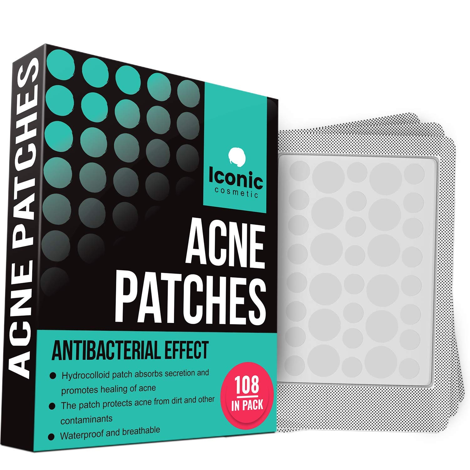 Acne Pimple Healing Patch - Absorbing Cover, Invisible, Blemish Spot, Hydrocolloid, Skin Treatment, Facial Stickers, Two Sizes, Blends in with skin(108 Patches) by iconic