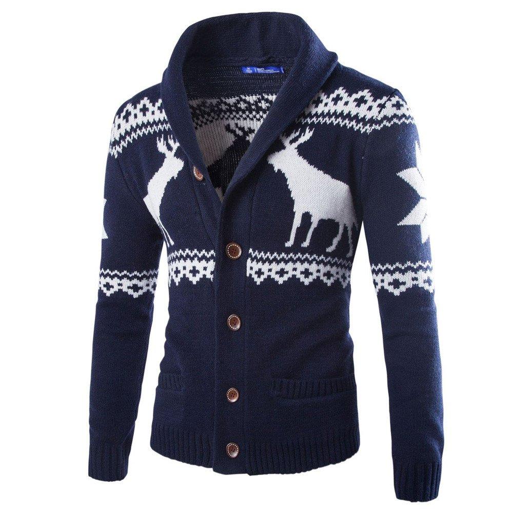 Sunnyuk Invierno de los Hombres de Navidad auspicioso Ciervos Imprimir sué ter Cardigan Xmas Prendas de Punto Abrigo Chaqueta sué ter Solo Pecho sué ter Pullover
