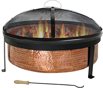 Sunnydaze Hammered Outdoor Fire Pit 100 Copper Large Round Bonfire Wood Burning Patio Backyard Firepit Durable Spark Screen Poker Tool And Fireplace Cover 30 Inch Amazon Ca Home Kitchen